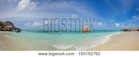Beautiful Seychelles tropical beach Anse Source D Argent at La Digue island