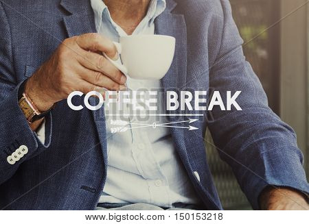 Businessman Drinking Coffee Break Time Concept