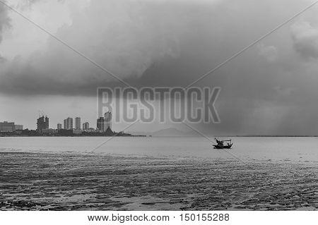 Rainclouds or Nimbus in rainy season Thailand.