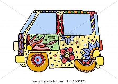 Hippie vintage car a mini van. Love and Music with hand-written fonts, hand-drawn doodle background and textures. Hippy color vector illustration. Retro 1960s, 60s, 70s