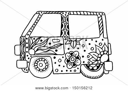 Hippie vintage car a mini van in zentangle style for adult anti stress. Coloring page with high details isolated on white background. Hippie bus. Retro 1960s, 60s, 70s. Vintage classic camper van.