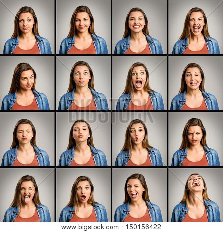 Multiple portraits of the same woman doing diferent expressions