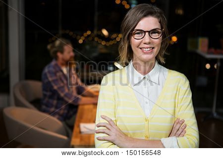 Portrait of businesswoman in spectacle at office
