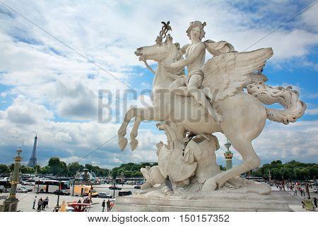 Obelisque Chevaux de Marly Concorde in Paris
