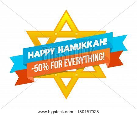 Hanukkah sale or discount design for emblem, sticker or logo with david star isolated