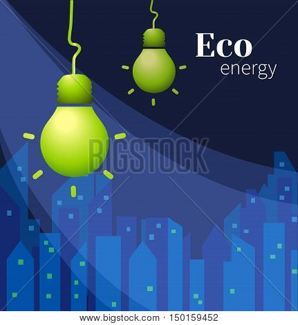 Vector lamp on dark blue city background. Eco energy. Vector illustration for the cover, or books. Eco-friendly energy. The conservation of energy.