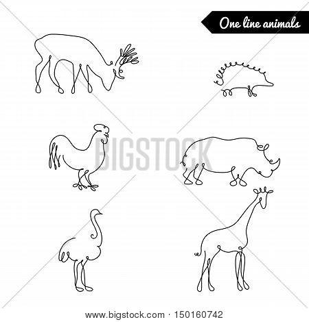 One line animals set, logos vector stock illustration