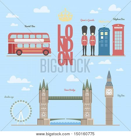 London travel info graphic Vector illustration of the London, London and symbols