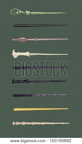 Set of different magic wands for witches and wizards vintage magic sticks for witchcraft schools and fantasy games