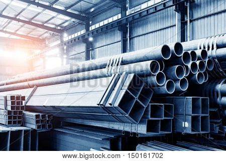 A pile of products in a warehouse of large steel mills