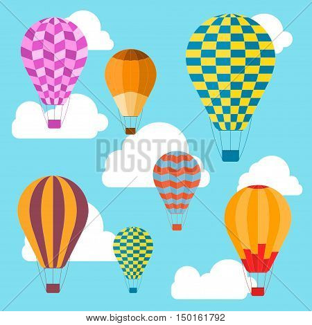 Air Balloons Background. Summer Vacation, Tourism and Journey. Flat Style. Vector illustration