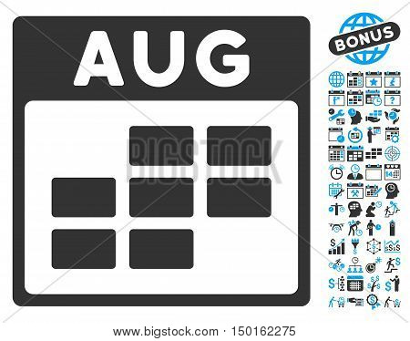 August Calendar Page icon with bonus calendar and time management pictures. Vector illustration style is flat iconic bicolor symbols, blue and gray colors, white background.