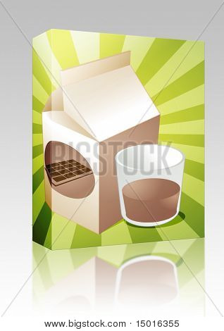 Software package box Chocolate milk carton with filled glass illustration