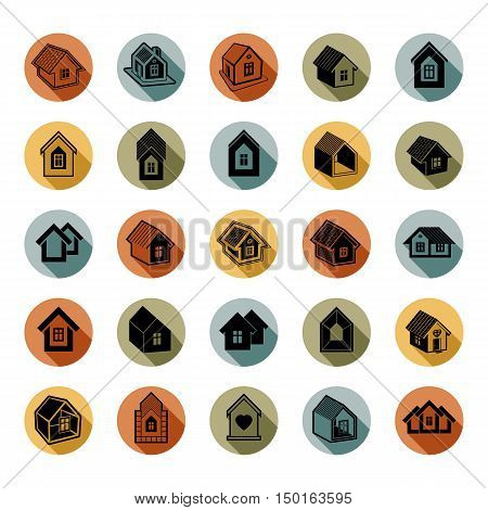 Houses abstract icons can be used in advertising. Set of simple buildings architecture theme vector graphic symbol. Room for the newlyweds.