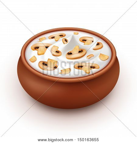 Ceramic Pot of Sour Cream Sauce Mayonnaise with Sliced Mushrooms Champignons Close up Isolated on White Background