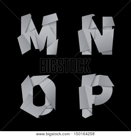 Paper alphabet, isolated on black background. M, N, O, P letters. Eps10 vector.
