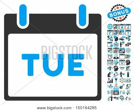 Tuesday Calendar Page pictograph with bonus calendar and time management pictograph collection. Vector illustration style is flat iconic bicolor symbols, blue and gray colors, white background.