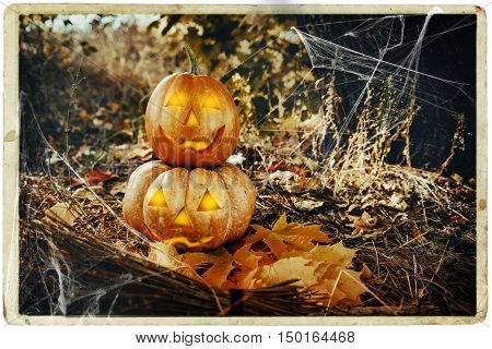 Grinning pumpkin lantern or jack-o'-lantern is one of the symbols of Halloween. Halloween attribute. In the forest near the tree