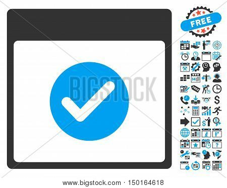 Valid Calendar Page pictograph with bonus calendar and time management pictograph collection. Vector illustration style is flat iconic bicolor symbols, blue and gray colors, white background.