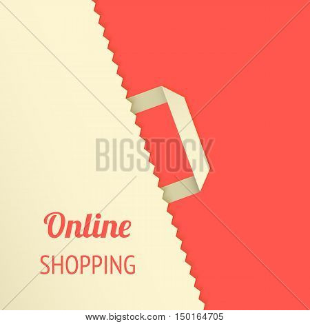 Flat design vector illustration with shopping bag. Concept background for newsletters online stores, web sites banners of shopping, discount, e-commerce, online shopping, sale.