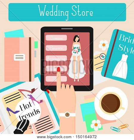 Wedding store concept flat vector illustration. Woman shopping in online fashionable shop with touch pad. Advertisement Banner for web bridal stores shops social media e-commerce