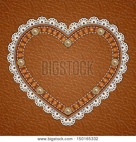 Heart shaped patch with rivets and lace border on leather background. Vector illustration
