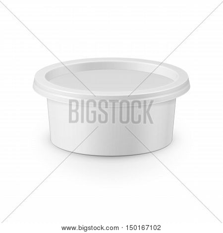 White plastic tub container for cream cheese, spread, margarine, butter, cottage cheese, isolated on white background. Packaging collection.