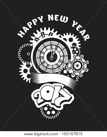 vector illustration of a clock face surrounded by mechanical parts and wrap holiday banner digits of the year Black and white