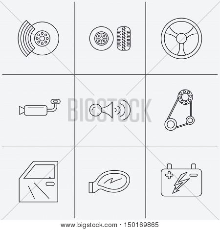 Accumulator, brakes and steering wheel icons. Generator belt, klaxon signal and car mirror linear signs. Door icon. Linear icons on white background. Vector
