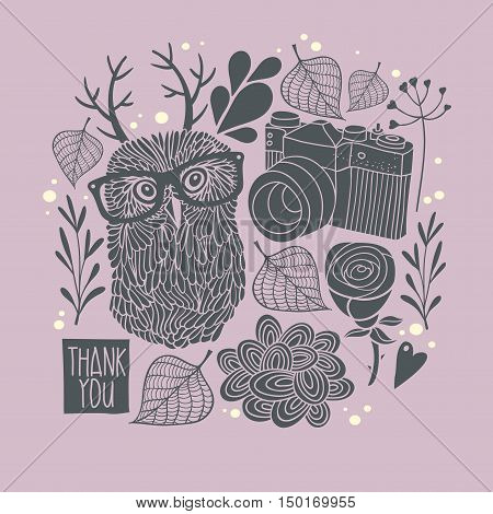 Owl in eyeglasses with horns. Vector card cover. Creative print for decoration on the wall.