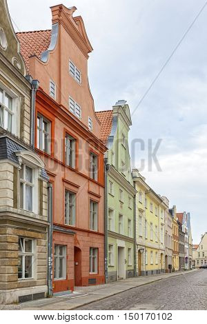 Colorful facades at the old town of Stralsund, Germany