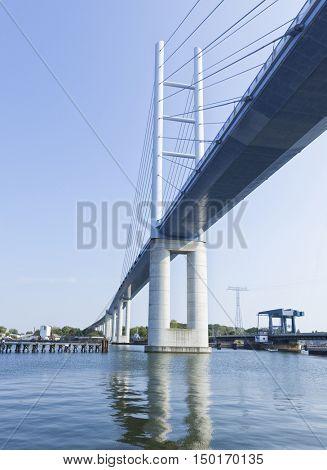 Ruegen Bridge and old drawbridge on Ruegen Causeway crossing the Strelasund from Stralsund to Rugia island