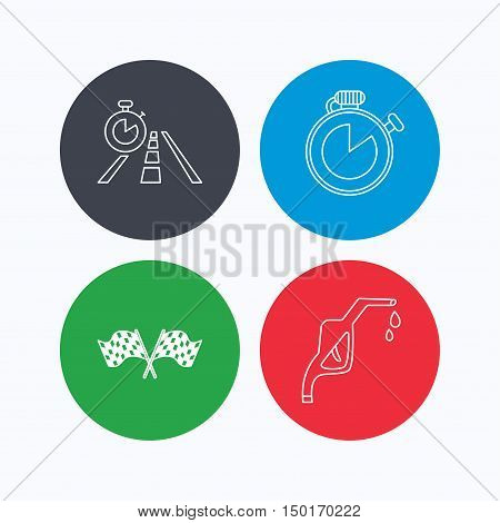 Race flags, travel timer and petrol station icons. Timer linear sign. Linear icons on colored buttons. Flat web symbols. Vector