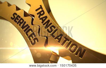 Translation Services - Technical Design. 3D Render. Golden Gears with Translation Services Concept.