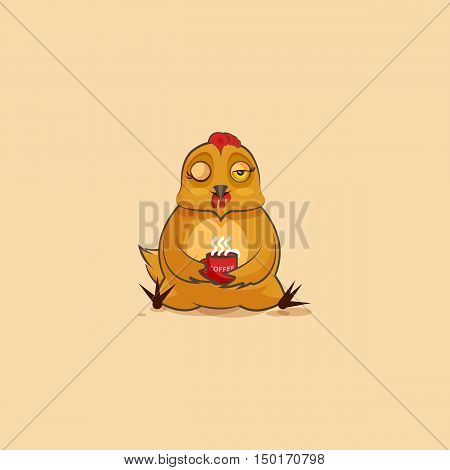 Vector Stock Illustration isolated Emoji character cartoon Hen just woke up with cup of coffee sticker emoticon for site, infographic, video, animation, websites, e-mails, newsletters, reports, comics