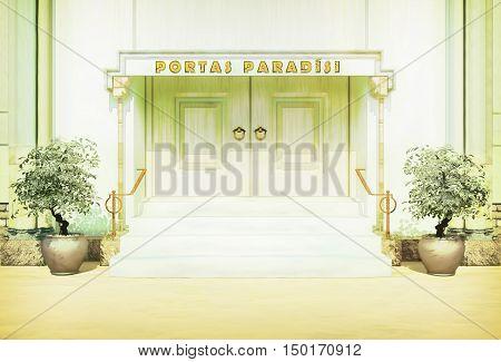 Bible gate in paradise. Concept about bible paradise. 3D illustration
