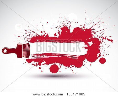 Art drawn funky vector illustration created with splashes and inky spots. Decorative red backdrop drawn with painting brush can be used as website background. You can write your text here.