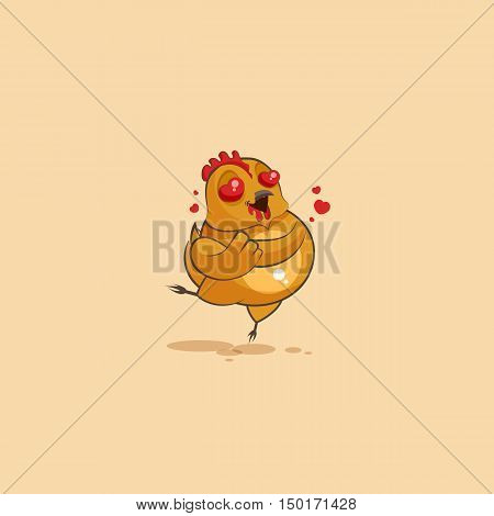 Vector Stock Illustration isolated Emoji character cartoon Hen in love flying with hearts sticker emoticon for site, infographics, video, animation, websites, e-mails, newsletters, reports, comics