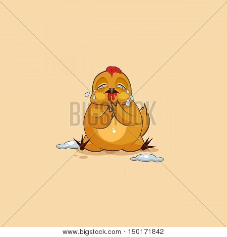 Vector Stock Illustration isolated Emoji character cartoon Hen crying, lot of tears sticker emoticon for site, infographics, video, animation, websites, e-mails, newsletters, reports, comics