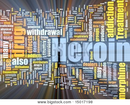 Word cloud concept illustration of heroin drug glowing light effect