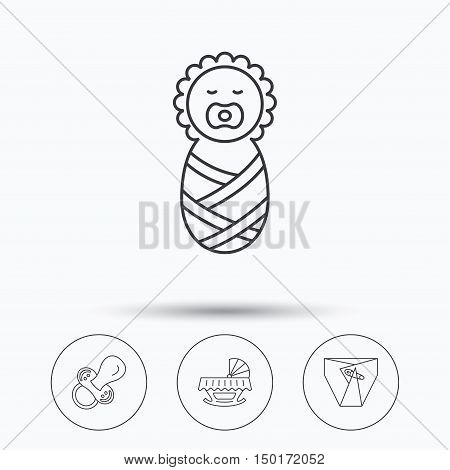 Pacifier, newborn and diapers icons. Cradle bed linear sign. Linear icons in circle buttons. Flat web symbols. Vector