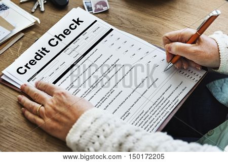 Credit Check Financial Accounting Request Form Concept