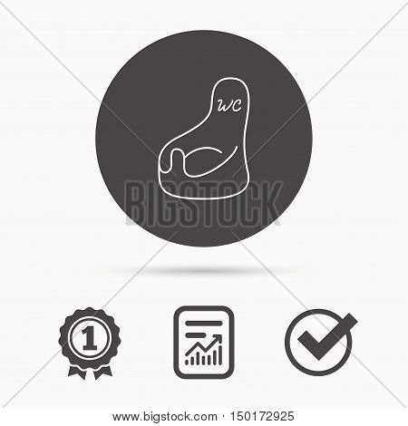 Baby wc icon. Child toilet sign. Washroom or lavatory symbol. Report document, winner award and tick. Round circle button with icon. Vector