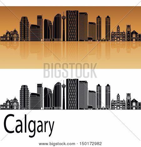Calgary V2 skyline in orange background in editable vector file
