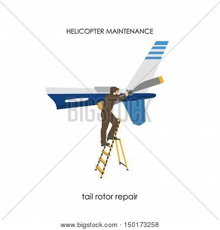 Repair and maintenance of helicopters. Repair of tail rotor. Vector illustration