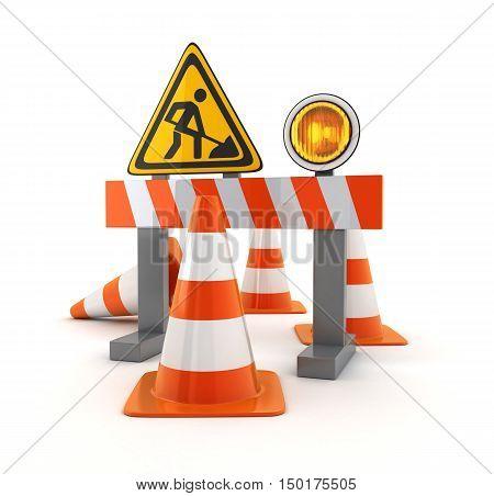 Symbol repair road and orange cones (done in 3d rendering)