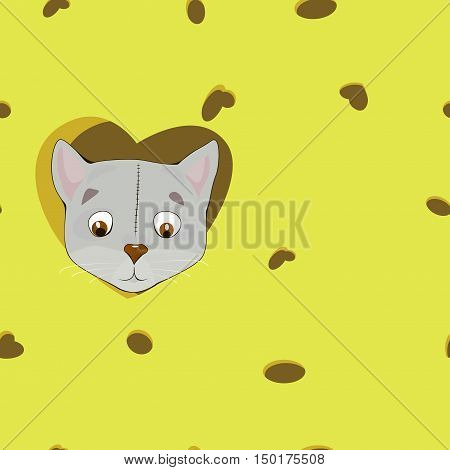 Cartoon Grey Cat In The Heart On Cheese Background.