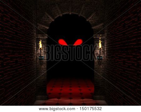 Medieval castle arch with columns and torches haloween 3d illustration.