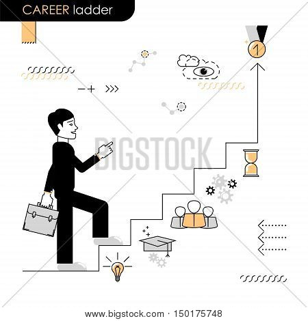 Career ladder. Concept move up the career ladder. Stages of transition to another stage. Vector flat line on a white background