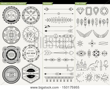 GEOMETRIC LINE DESIGN ELEMENTS. Frames brands elements, dividers and icons.